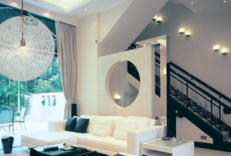 Livingroom decorated with modern lighting