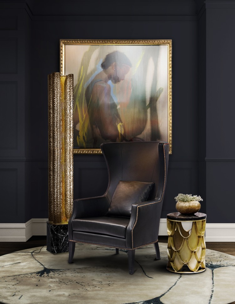 Golden Lighting Design Trends 2020 by BRABBU golden lighting design trends Golden Lighting Design Trends 2020 by BRABBU Golden Lighting Ideas Trends 2020 by BRABBU Dukono Armchair Koi Side Table Vellum Flor Light Yagua Rug II